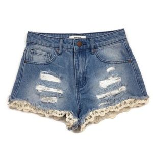 Forever 21 Denim High Waisted Lace Trim Shorts